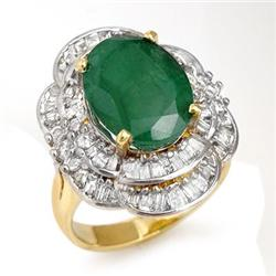 ACA CERTIFIED 7.04ctw EMERALD & DIAMOND RING 14KT GOLD