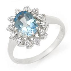 CERTIFIED 1.51 ctw BLUE TOPAZ & DIAMOND RING WHITE GOLD