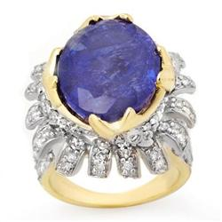 CERTIFIED 12.75ctw DIAMOND & TANZANITE RING 14KT GOLD