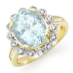 OVERSTOCK 5.33ct CERTIFIED AQUAMARINE DIAMOND RING GOLD