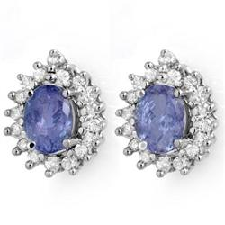RARE 3.63ctw TANZANITE & DIAMOND STUD EARRINGS 14K GOLD