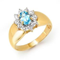 OVERSTOCK CERTIFIED .50 ctw BLUE TOPAZ RING YELLOW GOLD