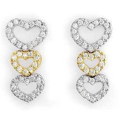 FINE 1.25ctw ACA CERTIFIED DIAMOND HEART EARRINGS 14KT