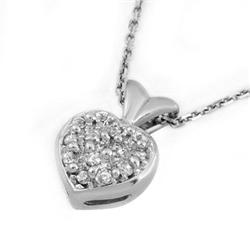 CERTIFIED 0.20ctw DIAMOND HEART NECKLACE I4K WHITE GOLD
