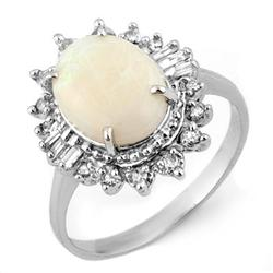 ACA CERTIFIED 3.45ctw DIAMOND & OPAL RING IN WHITE GOLD