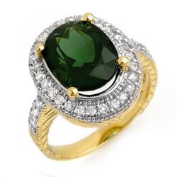 RING 6.05ctw ACA CERTIFIED DIAMOND & GREEN TOURMALINE