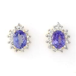 EARRINGS 4.25ctw ACA CERTIFIED DIAMOND & TANZANITE 14KT