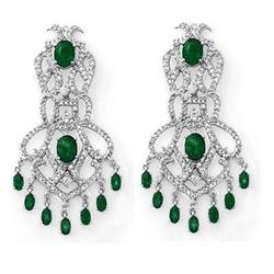 CERTIFIED 17.30ctw DIAMOND & EMERALD EARRINGS 14KT GOLD