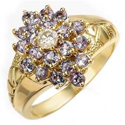 CERTIFIED 1.04ct DIAMOND & TANZANITE RING YELLOW GOLD