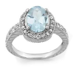 FINE 2.90ct ACA CERTIFIED DIAMOND & AQUAMARINE RING 14K