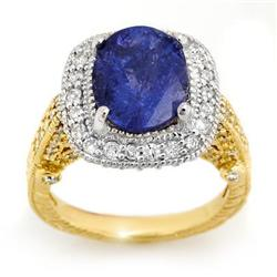 ACA CERTIFIED 5.40ct DIAMOND & TANZANITE RING 14KT GOLD