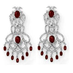 ELEGANT 17.50 ctw CERTIFIED DIAMOND & RUBY EARRING GOLD