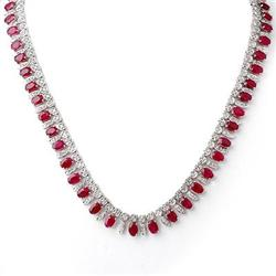 ACA CERTIFIED 41.0ctw DIAMOND & RUBY NECKLACE 14KT GOLD