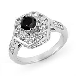 CERTIFIED 1.15ctw WHITE & BLACK DIAMOND RING 14KT GOLD