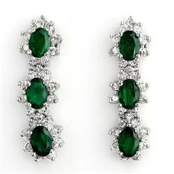 CERTIFIED 4.88ctw DIAMOND & EMERALD EARRINGS WHITE GOLD