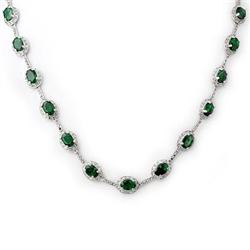 FINE 21.00ctw ACA CERTIFIED DIAMOND & EMERALD NECKLACE