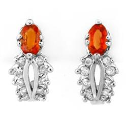EARRINGS 0.90ctw CERTIFIED DIAMOND & ORANGE SAPPHIRE