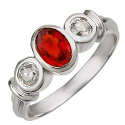 ACA CERTIFIED 1.05ctw DIAMOND & RED SAPPHIRE RING GOLD