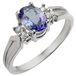CERTIFIED 1.10ctw DIAMOND & TANZANITE RING WHITE GOLD