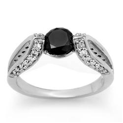 CERTIFIED 1.60ctw WHITE & BLACK DIAMOND RING 14KT GOLD