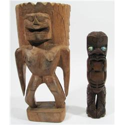 TWO MAORI ANCESTOR SCULPTURES