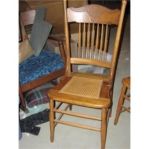 Antique Pressback Cane Seat Oak Dining Chairs #1919724