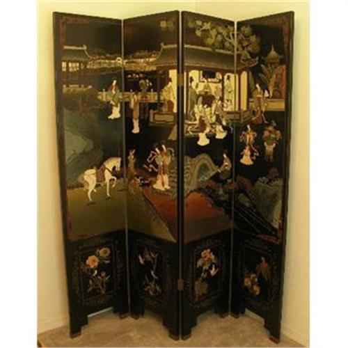 Chinese Asian Room Divider Screen 4 Panel Black1934082