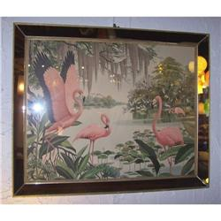 Flamingo Print in mirror frame (modern art) #1939870