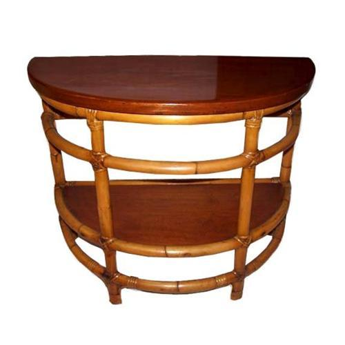 Vintage rattan 1 2 moon end or side table 1939917 for 1 2 moon table