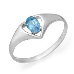 CERTIFIED .25 ctw BLUE TOPAZ LADIES RING WHITE GOLD