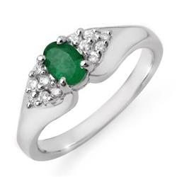 CERTIFIED 0.63ctw DIAMOND & EMERALD RING WHITE GOLD