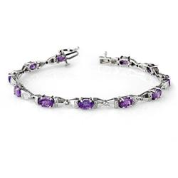 OVERSTOCK 6.11ct TANZANITE & DIAMOND BRACELET 14KT GOLD