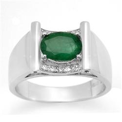 CERTIFIED 1.83ctw DIAMOND & EMERALD MEN'S GOLD RING