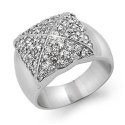 CERTIFIED 1.00ctw DIAMOND PAVE LADIES RING WHITE GOLD