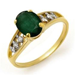 CERTIFIED 1.50ctw EMERALD & DIAMOND RING YELLOW GOLD