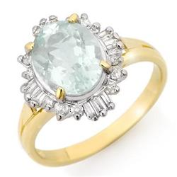 CERTIFIED 2.53ctw AQUAMARINE & DIAMOND RING GOLD