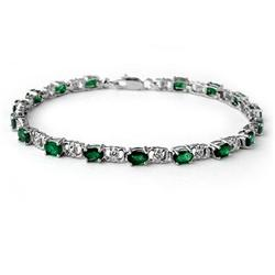 ACA CERTIFIED 5.02ctw EMERALD & DIAMOND TENNIS BRACELET