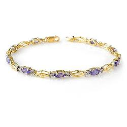 CERTIFIED 2.10ctw TANZANITE TENNIS BRACELET YELLOW GOLD
