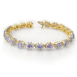 CERTIFIED 10.0ctw TANZANITE & DIAMOND BRACELET 14K GOLD