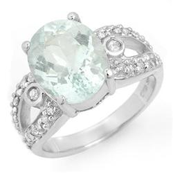 CERTIFIED 4.75ctw AQUAMARINE & DIAMOND RING WHITE GOLD