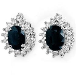 CERTIFIED 3.87ctw SAPPHIRE &DIAMOND EARRINGS  14KW GOLD