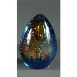 ART GLASS EGG FORM MULTICOLORED
