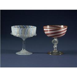 ITALIAN ART GLASS SHERBETS: Two fancy Italian art glass