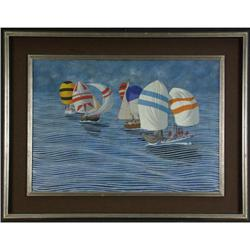 OIL PAINTING SERGIO AUGUSTINI SAILBOATS SEABREEZE