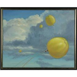 OIL PAINTING FRIDEL SURREALISTIC FLYING APPLES