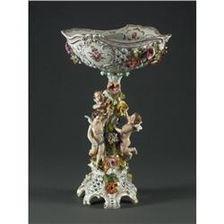 DRESDEN PORCELAIN CENTERPIECE BOWL PUTTI