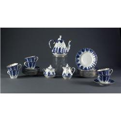 BLUE & WHITE RUSSIAN PORCELAIN TEASET GOLD TRIM