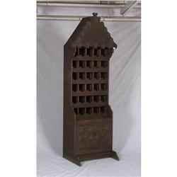 20th century pine hand carved wine rack