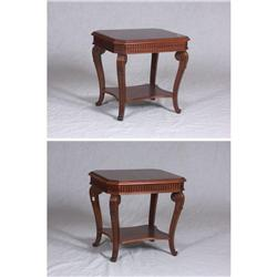 Pair of cut-corner end tables of 20th century construction. 24'' x 27'' x 26''