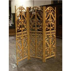 THREE PANELED RATTAN STANDING SCREEN ROOM DIVIDER